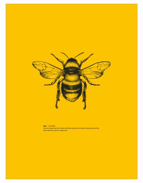 timhenning-bee-I-30x40cm-yellow